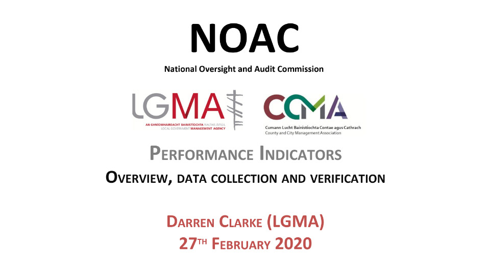 LGMA PRESENTATION 2019 NOAC performance indicators report